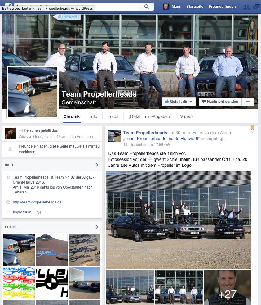 So sieht unsere Facebook-Seite aus