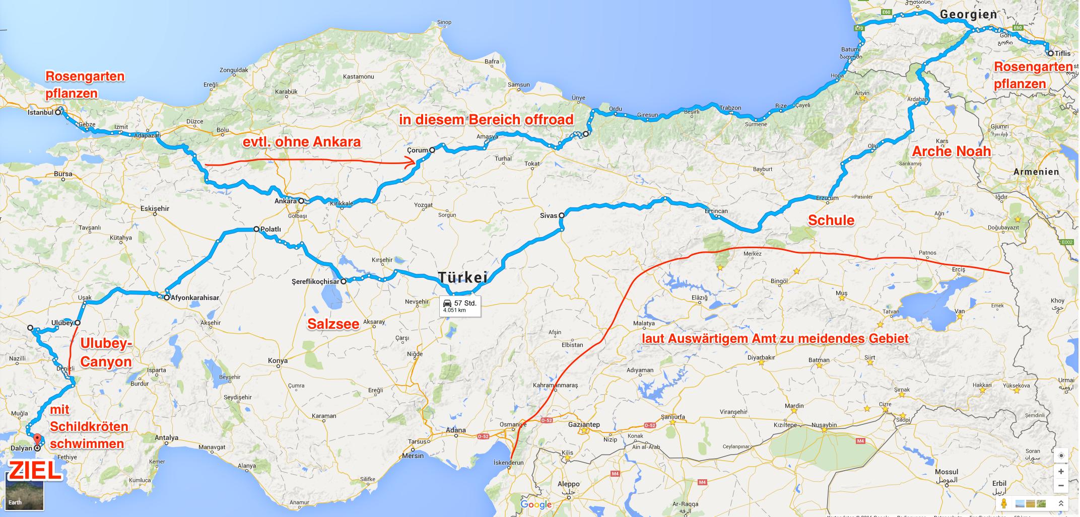 Propellerheads Allgäu-Orient-Rallye Route 2015 Türkei - Georgien - Ägäis - mit Infos 4